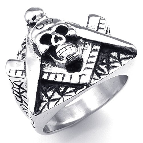 Men Stainless Steel Ring, Skull Freemason Masonic, Black - InnovatoDesign