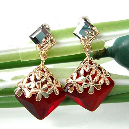18k Gold Plated Crystal Flower Leaves Red Square Zircon Az2873d Drop Dangle Earrings