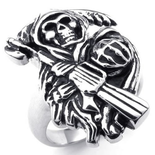 Stainless Steel Band Casted Grim Reaper Skull Biker Men Ring