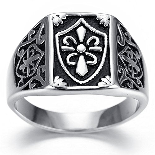 Men Stainless Steel Ring, Biker, Silver, Black, Cross