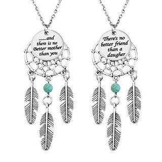 """ There's no better mother than you "" Dangling Feather Dreamcatcher Pendant Necklace Set of 2"
