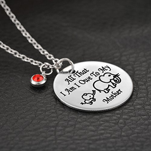 "Rhinestone ""I Owe to My Mother"" Mama Baby Elephant Pendant Necklace - InnovatoDesign"