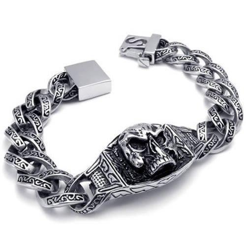 Heavy Large Stainless Steel Gothic Skull Biker Men Bracelet, Color Silver Black