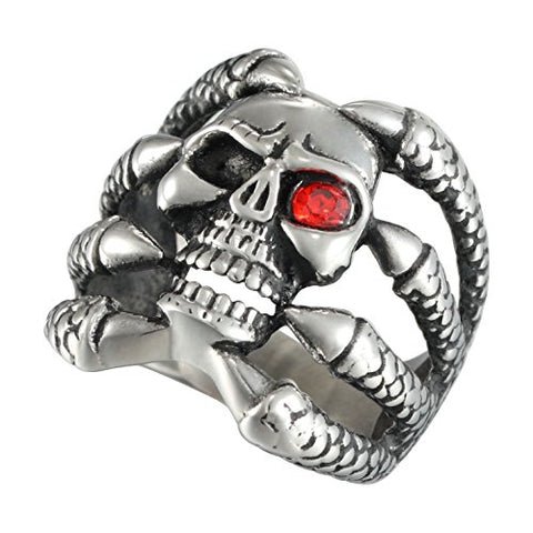 Stainless Steel Dragon Claw Red Cubic Zirconia Skull Ring
