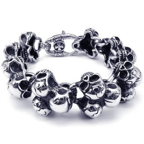 Jewelry Stainless Steel Gothic Skull Biker Men Bracelet - InnovatoDesign