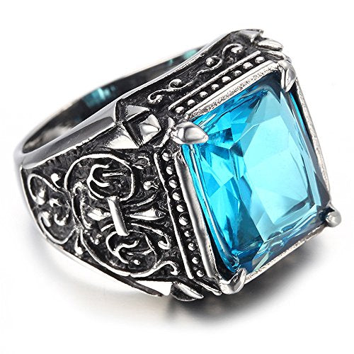Men Stainless Steel Ring, Vintage, Fashion, Blue, Crystal