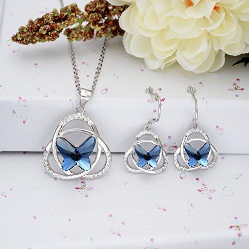 925 Sterling Silver CZ Knot Butterfly Jewelry Set Blue Adorned with Swarovski Crystals