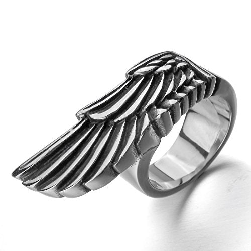 Men's Stainless Steel Ring Silver Tone Angel Wing - InnovatoDesign