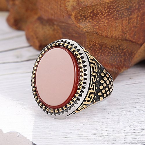 Jewelry classics Stainless Steel retro Rhinestone red agate Men's Ring jewelry,Gold silver, Red