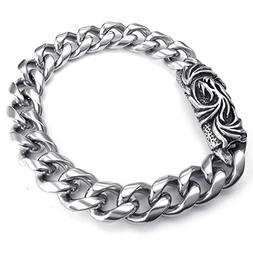 Men Stainless Steel Bracelet, Biker Dragon Magnetic Clasp, Black Silver - InnovatoDesign