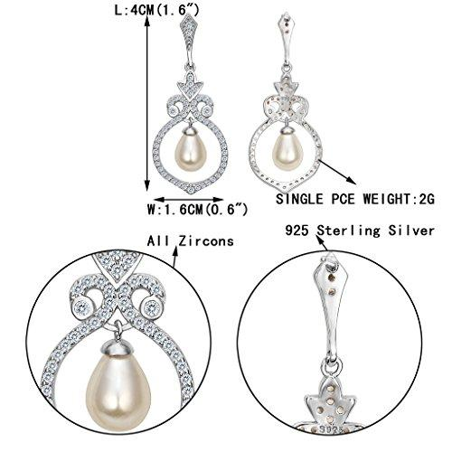 925 Sterling Silver CZ Simulated Pearl Vintage Style Floral Chandelier Earrings Clear