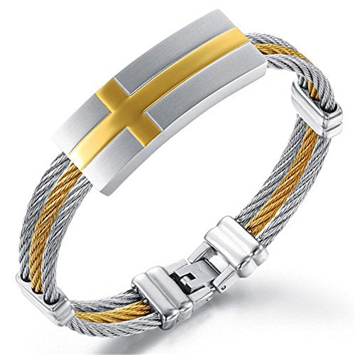 Men ID Bracelet 18K Gold Line Cross Triple Strand Woven Stainless Steel Cuff Bangle Christian Wrist Band - InnovatoDesign