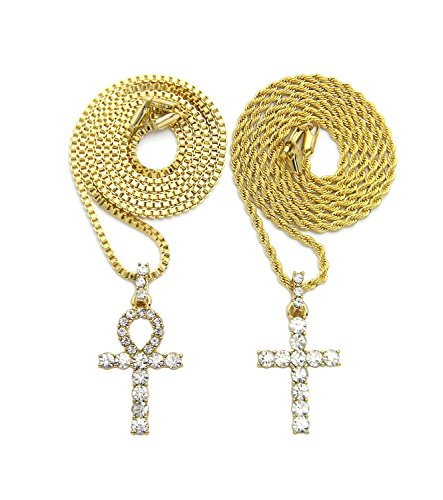 Gold Iced Ankh Cross Pendant Chain 2-piece Necklace Set