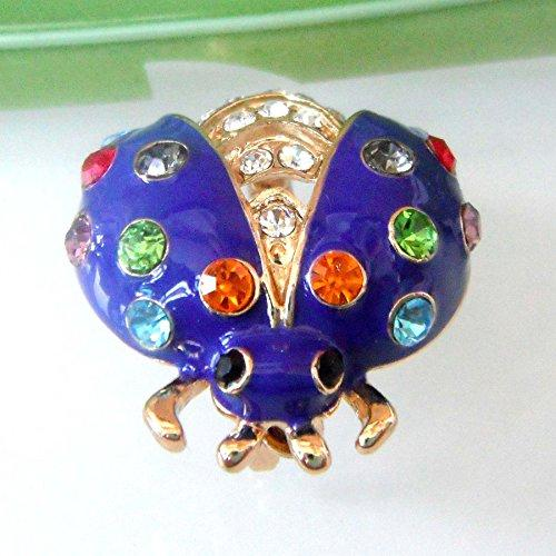 18k Gold Plated Colorful Crystal Blue Enamel Bug Az7792b Brooch Pin