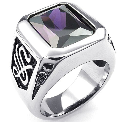 Men Crystal Stainless Steel Ring, Classic Gothic, Purple