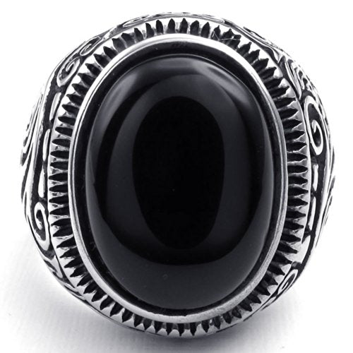 Men Stainless Steel Ring, Classic Vintage, Black