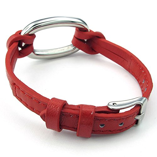 Women Leather Stainless Steel Bracelet, 6-7.5 inch Adjustable Oval Charms Cuff Bangle, Red - InnovatoDesign