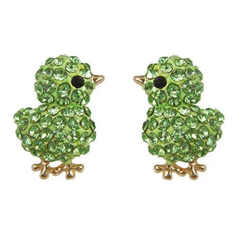 18k Gold Green Chick Crystal Stud Earrings