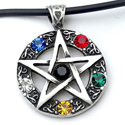 Five Element Crystal Wiccan Pentagram Pewter Pendant Rope Necklace