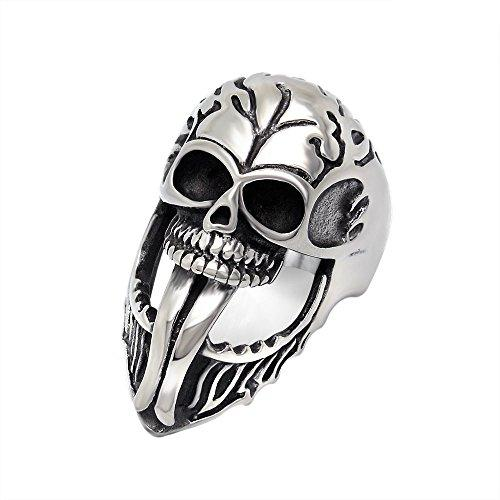 316 L Stainless Steel Tongue Person Cranial Head Punk Men's Ring