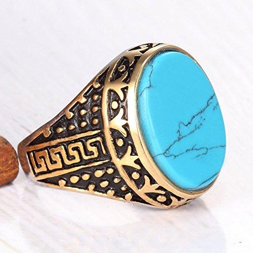 Gold Plated Stainless Steel Vintage Blue Turquoise Ring Band,Blue Gold
