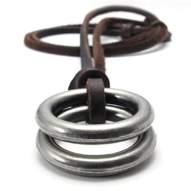 Vintage Style Alloy Double Ring Pendant Adjustable Leather Cord Men Necklace Chain