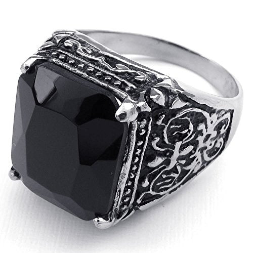 Men Stainless Steel Ring, Vintage Engraved Fleur De Lis Dragon Claw, Black - InnovatoDesign