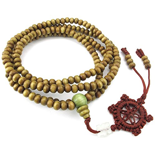 Men Women Wood Bracelet, 5mm Tibetan Beads Buddhist Prayer Mala Necklace, Brown