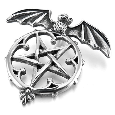 Stainless Steel Silver Pentagram Winged Bat Pendant Necklace