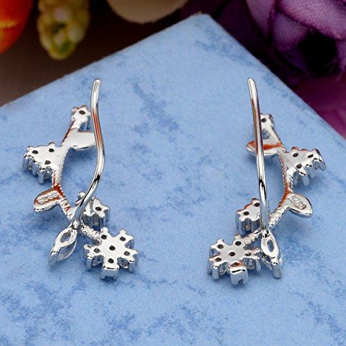 925 Sterling Silver Cubic Zirconia Wedding Flower Ear Sweep Cuff Hook Earrings 1 Pair Clear
