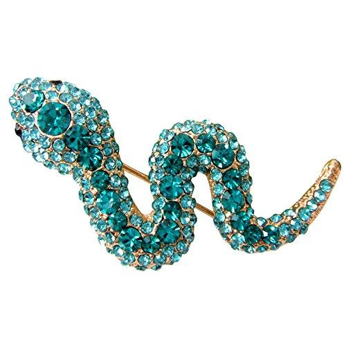 18k Gold Plated Blue Crystal Snake Az7364b Brooch Pin