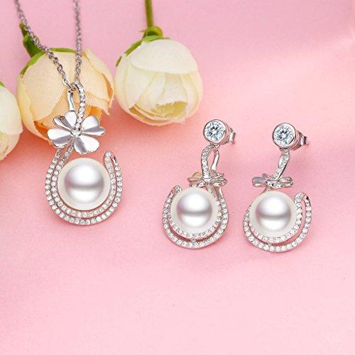 925 Sterling Silver CZ AAA Freshwater Cultured Pearl Elegant 4-Leaf Clover Jewelry Set Clear