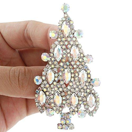 4 Layers Wishing Tree Silver-Tone Brooch Austrian Crystal Iridescent Clear AB