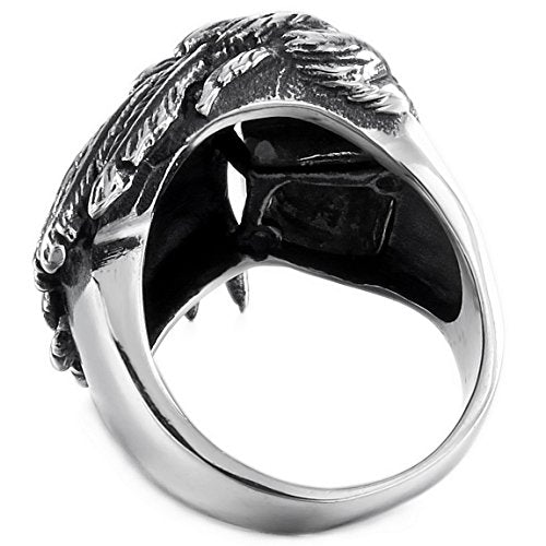 Men's Stainless Steel Ring Silver Gold Two Tone Black Native American - InnovatoDesign