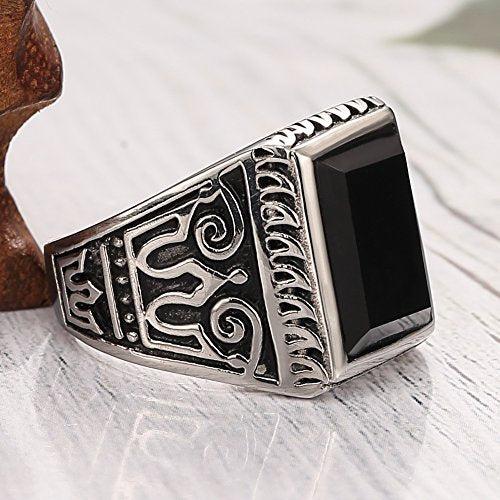 Men's 316l Stainless Steel Ring Crystal Greek Engraved Vintage, Classics Double Bird Ring,silver Black - InnovatoDesign