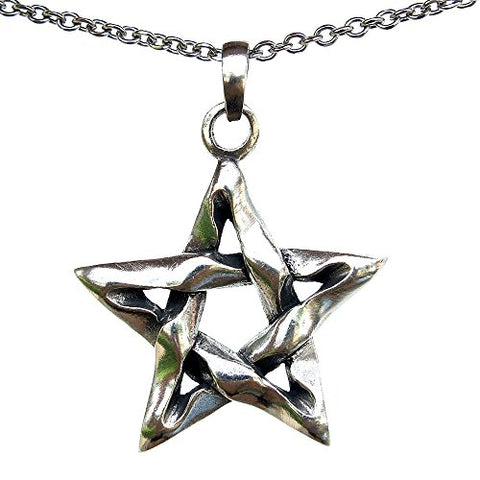 Wiccan Pentagram Talisman Pewter Pendant Stainless Steel necklace