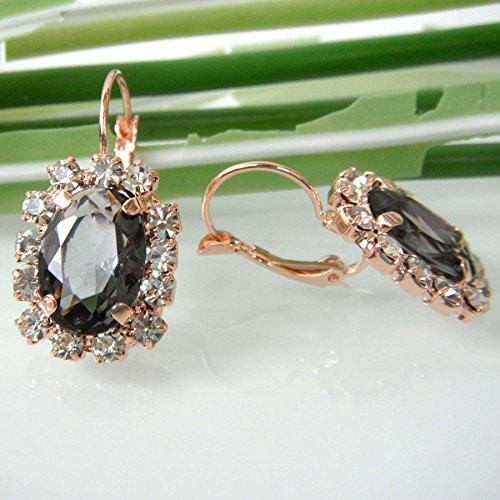 18k Gold Plated Gray Crystal Square Acatate Az2540e Leverback Earrings