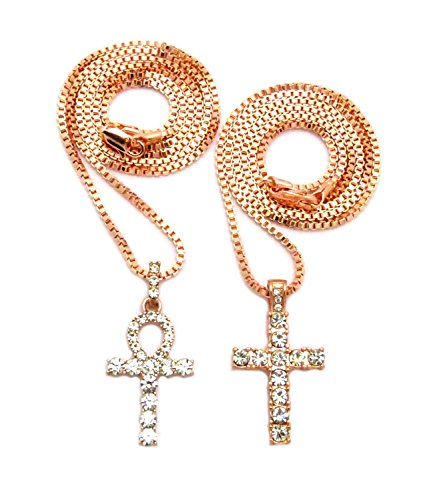 Rose Gold Cross Micro Iced Out Ankh Pendant Chain 2 Piece Set Necklace