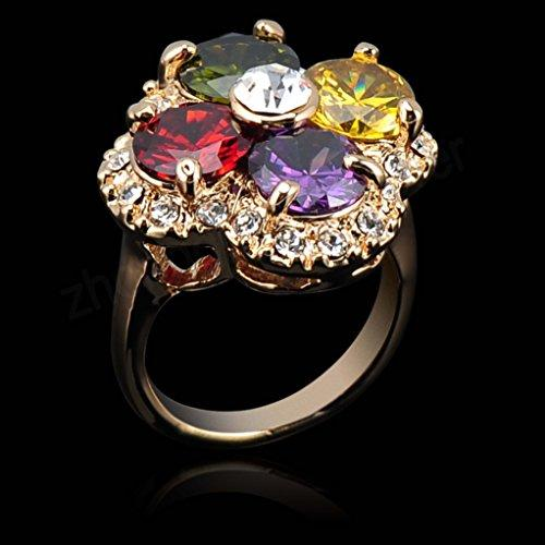 18k Gold Plated Clover Circle Multi-color Zirconia Crystal Az0218r Ring (Available in Sizes 7 8 9)