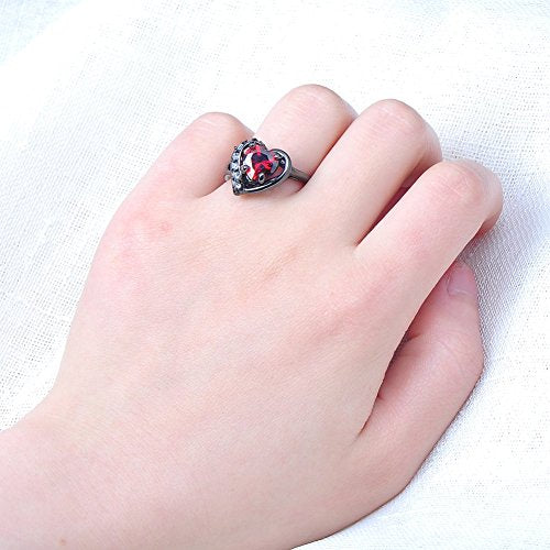 Women's Red Lab Stone Heart-Shaped Best Friend Black Gold Plated 7MM7MM Promise Womens Rings Size 6-10 - InnovatoDesign