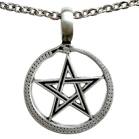 Stainless Steel Ouroboros Pentacle Pewter Pendant Chain Necklace