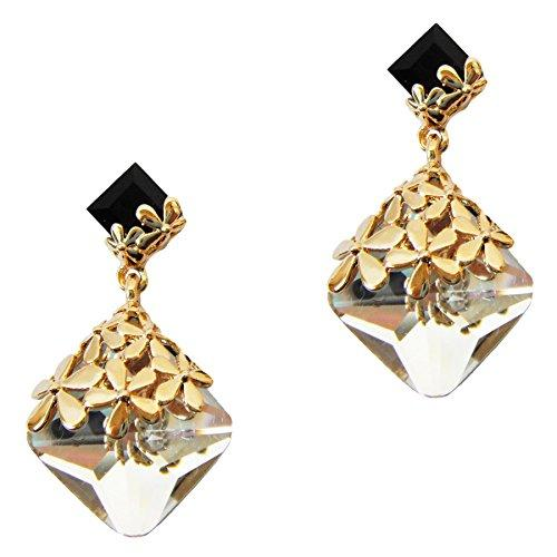 18k Gold Plated Crystal Flower Leaves Clear Square Zircon Az2875d Drop Dangle Earrings