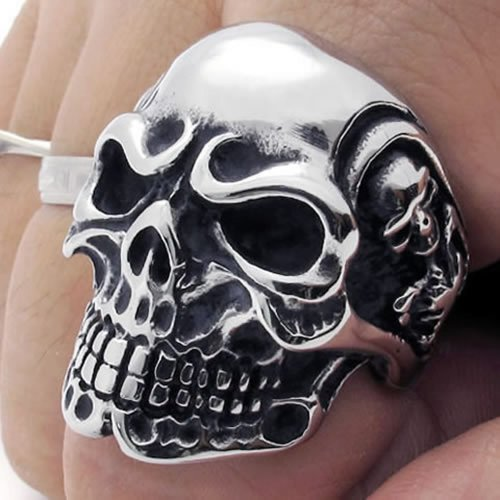 Vintage Gothic Skull Biker Stainless Steel Men Ring