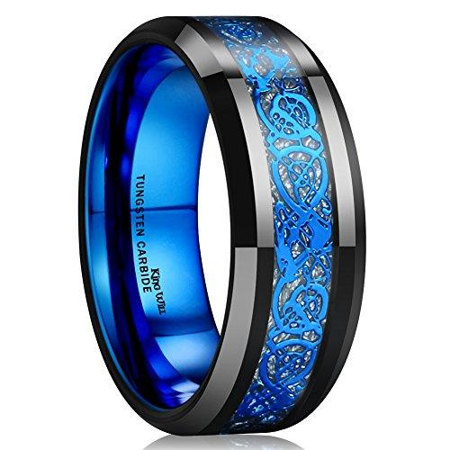 DRAGON Blue Celtic Dragon Tungsten Carbide Ring 8mm Men Black Wedding Band Polished Comfort Fit