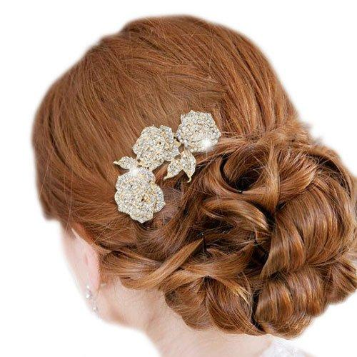 3 Rose Flower Hair Comb Clear Austrian Crystal Gold-Tone