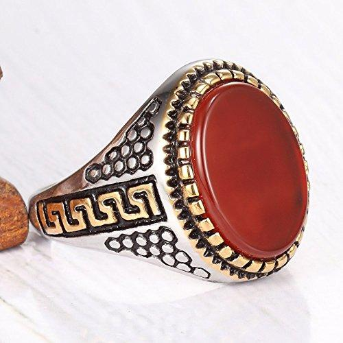 Gold Plated Stainless Steel Vintage Red Agate Ring Band,Silver Gold