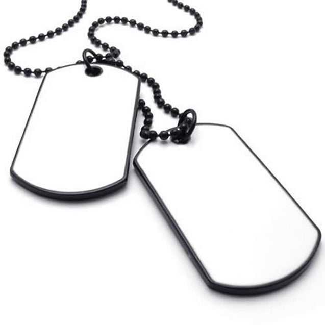 Army Style 2pcs Dog Tag Pendant Men Necklace Chain, White