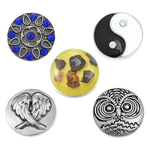 Interchangeable Yin Yang Snap Buttons Centerpiece Rhinestone Flower Eye Glass Holding Magnetic Brooch - InnovatoDesign