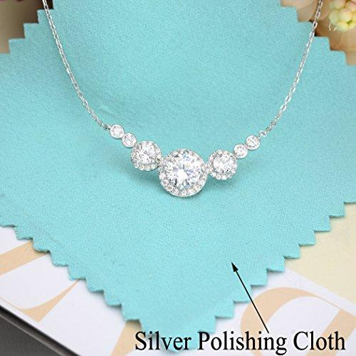 925 Sterling Silver Prong Cubic Zirconia Elegant Round Engagement Pendant Necklace Clear