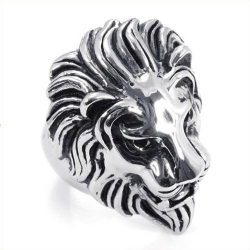 Men Biker Vintage Stainless Steel Lion Ring